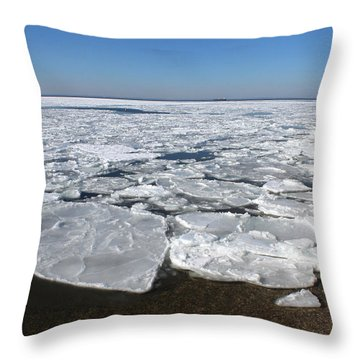 Icy Pier Cedar Beach Mount Sinai New York Throw Pillow by Bob Savage