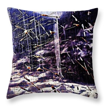 Icy River Through A Muddy Window Throw Pillow