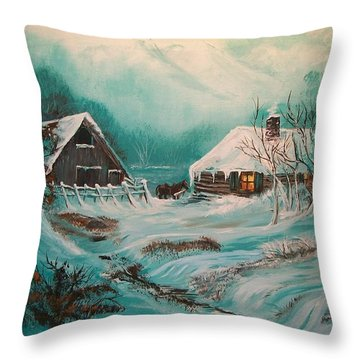 Throw Pillow featuring the painting Icy Twilight by Sharon Duguay