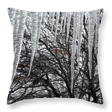 Icycles On The Eave Throw Pillow