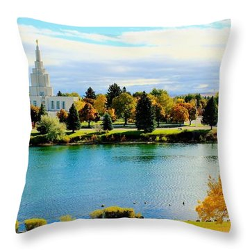 Throw Pillow featuring the photograph Idaho Falls Temple by Benjamin Yeager