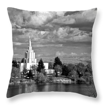 Idaho Falls Temple Throw Pillow by Eric Tressler