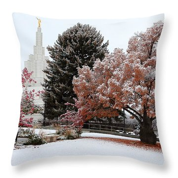 Idaho Falls Temple Winter Throw Pillow