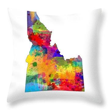 Idaho Map Throw Pillow