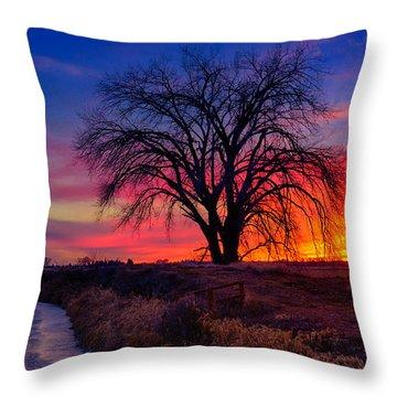 Idaho Winter Sunset Throw Pillow by Greg Norrell