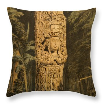Idol At Copan By Frederick Catherwood Throw Pillow