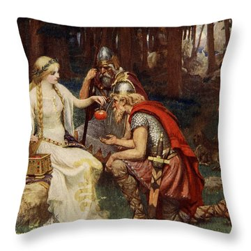 Idun And The Apples, Illustration Throw Pillow by James Doyle Penrose