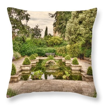 Idyllic Garden With Pond Throw Pillow
