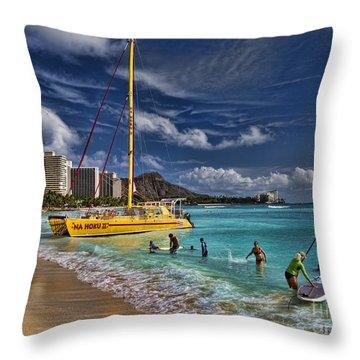Idyllic Waikiki Beach Throw Pillow by David Smith
