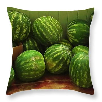 Throw Pillow featuring the photograph If I Had A Watermelon by Patricia Greer