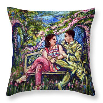 Throw Pillow featuring the painting If I Will Get Your Love by Harsh Malik