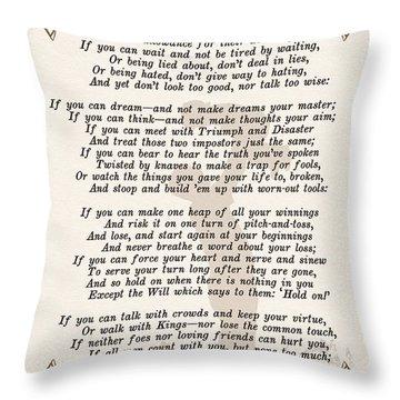 If Poem By Rudyard Kipling Throw Pillow by Olga Hamilton