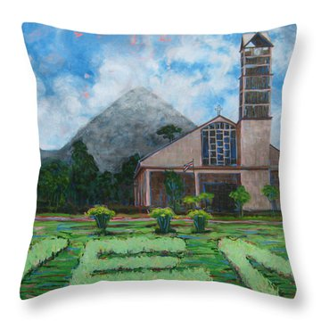 Iglesia La Fortuna  Costa Rica Throw Pillow
