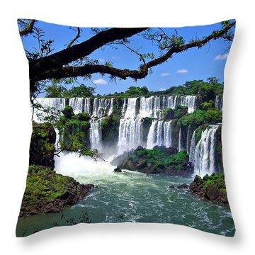 Iguazu Falls In Argentina Throw Pillow by Joan  Minchak