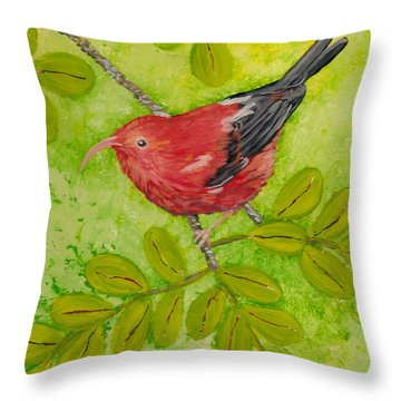 Throw Pillow featuring the painting 'i'iwi by Anna Skaradzinska
