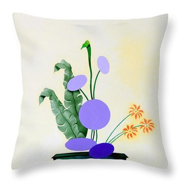 Ikebana #2 Green Pot Throw Pillow