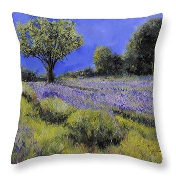 Il Campo Di Lavanda Throw Pillow by Guido Borelli