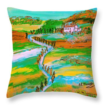 Throw Pillow featuring the painting  Tuscan Countryside by Loredana Messina