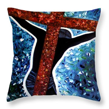 Throw Pillow featuring the painting Il Crocifisso - The Crucifix by Ze  Di