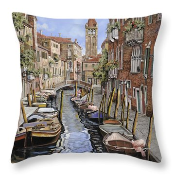 il gatto nero a Venezia Throw Pillow by Guido Borelli
