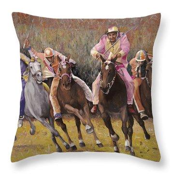 Race Horse Throw Pillows