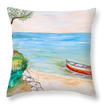 Throw Pillow featuring the painting Il Pescatore Solitario by Loredana Messina