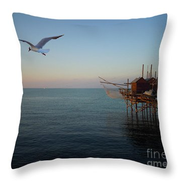 Throw Pillow featuring the photograph Il Trabucco - The Trebuchet Fishing by Zedi