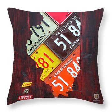 Illinois License Plate Map Throw Pillow by Design Turnpike