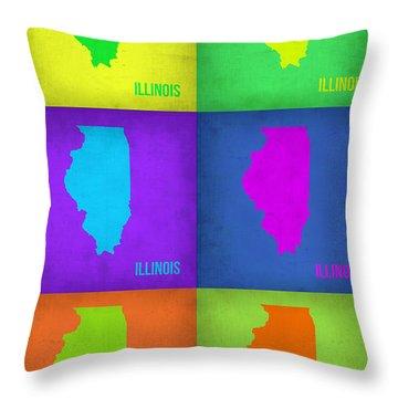 Illinois Pop Art Map 1 Throw Pillow by Naxart Studio