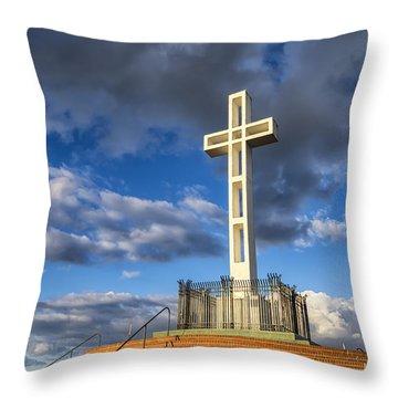 Illuminated Cross Throw Pillow by Joseph S Giacalone