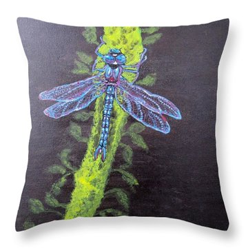 Illumination Of A Blue Dragonfly's Form At Nightfall Painting Throw Pillow