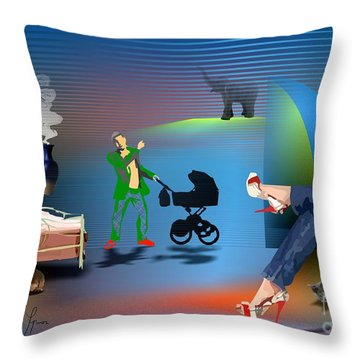 Throw Pillow featuring the digital art Illusion Of Happiness by Leo Symon