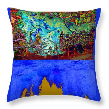 Illusion Of Lake And Forest Throw Pillow