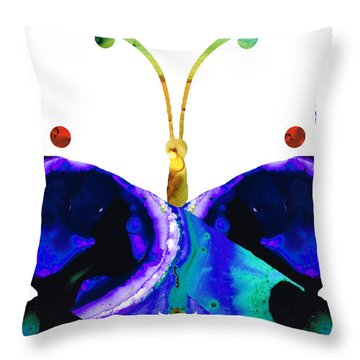 Illusion - Peacock Butterfly Art Painting Throw Pillow by Sharon Cummings