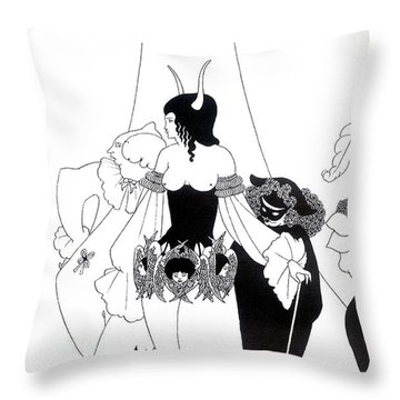 Illustration For The Masque Of The Red Death Throw Pillow by Aubrey Beardsley