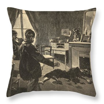 Illustration From Le Petit Journal Throw Pillow
