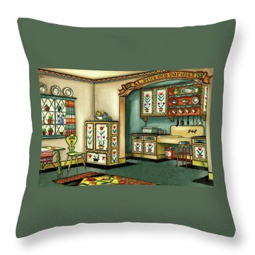 Illustration Of A Colorful Swedish Kitchen Throw Pillow
