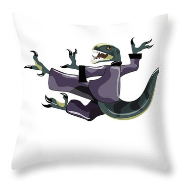 Illustration Of A Raptor Performing Throw Pillow by Stocktrek Images
