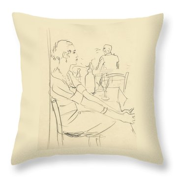 Illustration Of A Woman Sitting Down Throw Pillow