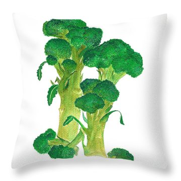 Illustration Of Broccoli Throw Pillow by Nan Wright