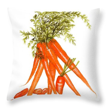 Illustration Of Carrots Throw Pillow by Nan Wright