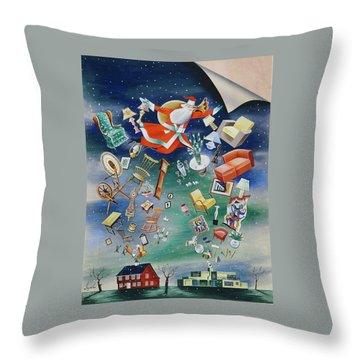 Illustration Of Santa Claus Throw Pillow