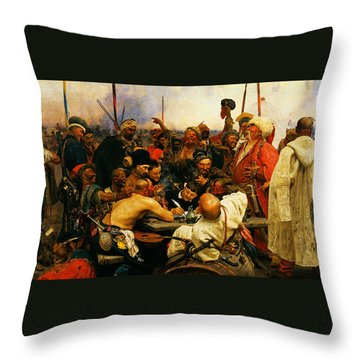 Ilya Repin 3 Reply Of The Zaporozhian Cossacks To Sultan Mehmed Iv Of Ottoman Empire1 Throw Pillow