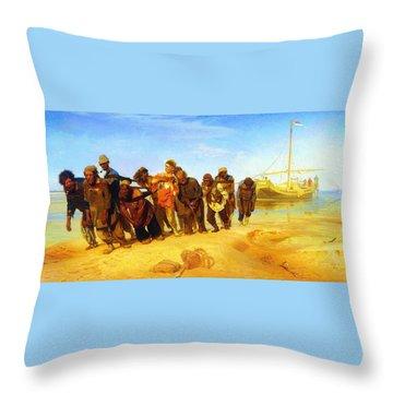 Ilya Repin Volga Barge Haulers 1873 Throw Pillow