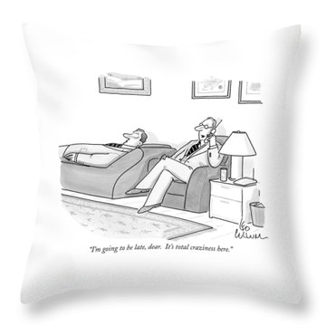 I'm Going To Be Late Throw Pillow