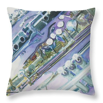 I'm Still Painting On The Keys Throw Pillow by Jenny Armitage