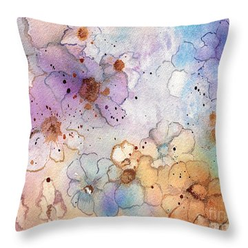 Throw Pillow featuring the painting Imaginary Figments Abstract Flowers by Nan Wright