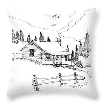 Throw Pillow featuring the drawing Imagination 1993 - Mountain Cabin by Richard Wambach