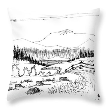 Throw Pillow featuring the drawing Imagination 1993 - Symphony Vision by Richard Wambach