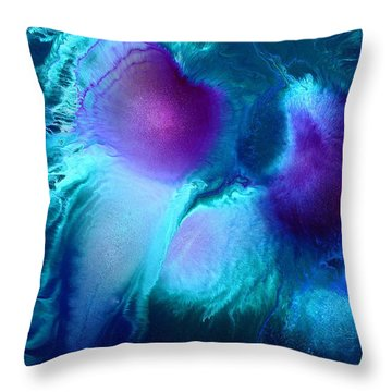 Imagination - Purple Blue Fluid Abstract Art By Kredart Throw Pillow